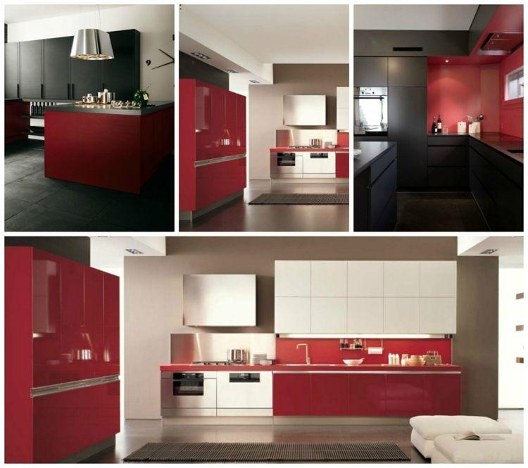 Cuisine rouge et grise 25 belles idées du0027inspiration Gray - Photo Cuisine Rouge Et Grise