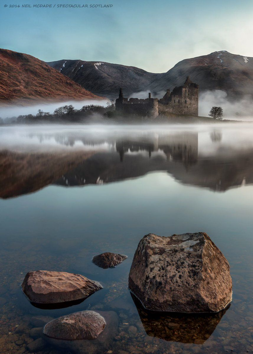 VisitScotland (@VisitScotland) on Twitter ... From across Loch Awe, shrouded in mist, the moody Kilchurn #Castle  #Argyll  FB/Neil McDade #ScotSpirit