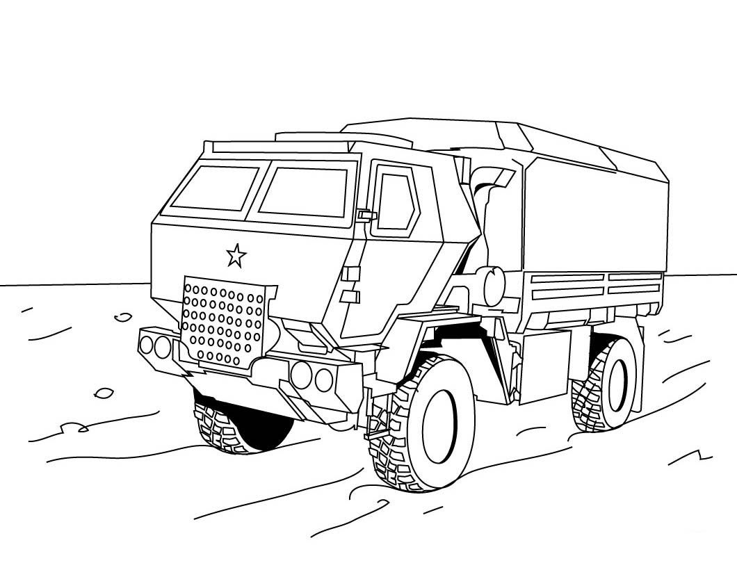 Military Vehicles Off Road Truck Coloring Pages For Kids Printable