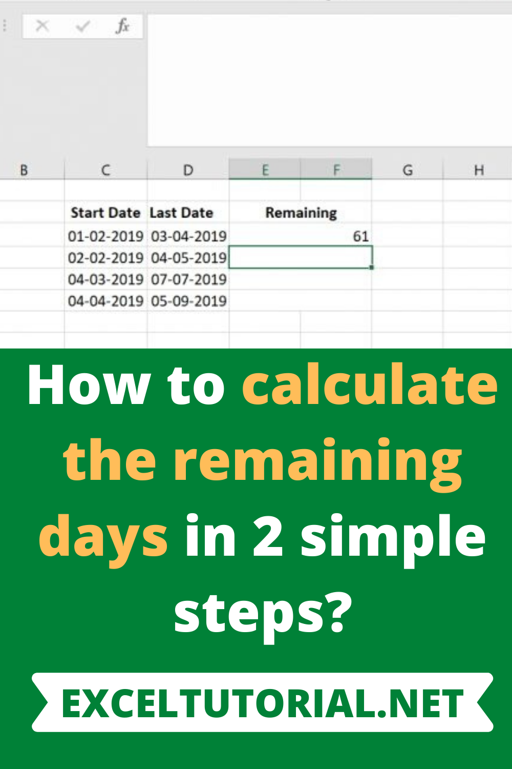 How to calculate the remaining days in 20 simple steps   Excel ...