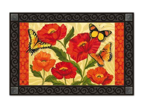 Magnet Works MatMates Doormat - Orange Poppies Design Decorative Doormat at GardenHouseFlags