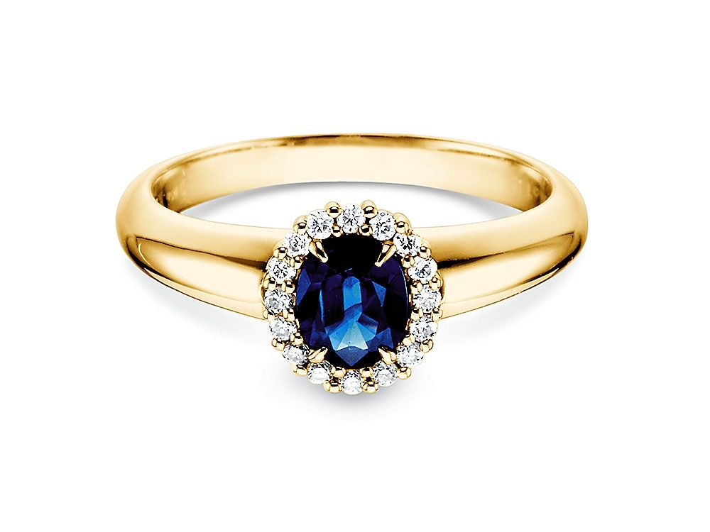 Saphir Ring 0 60 Ct Mit Diamanten 0 12 Ct Verlobungsring