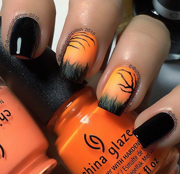 Spooky Halloween Scene Nails Ongles Vernis Pinterest Halloween