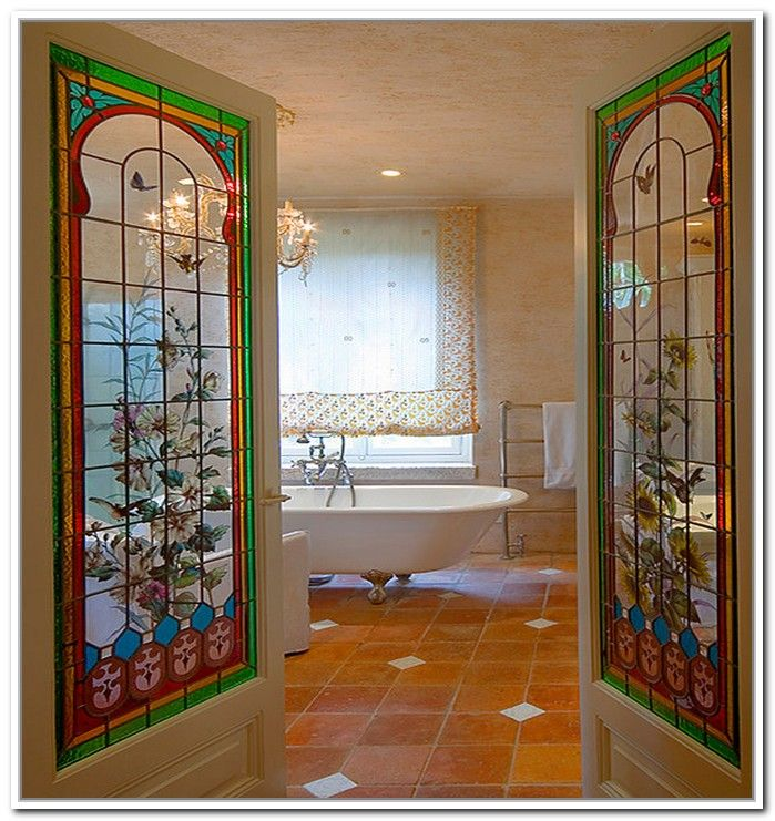 Interior French Doors Stained Glass With Colorful Glass And Bathtub