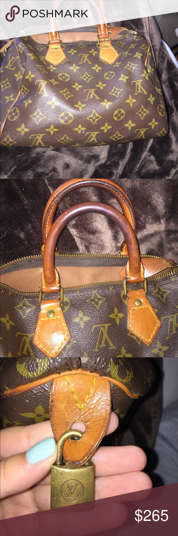 March 1982 Monogram Speedy 25 Authentic Lock and dust bag