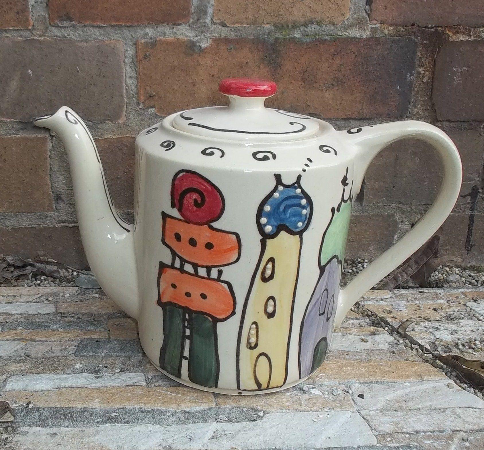Hundertwasser, Kanne , bunt, Keramik, Pottery, handmade, etsy ...