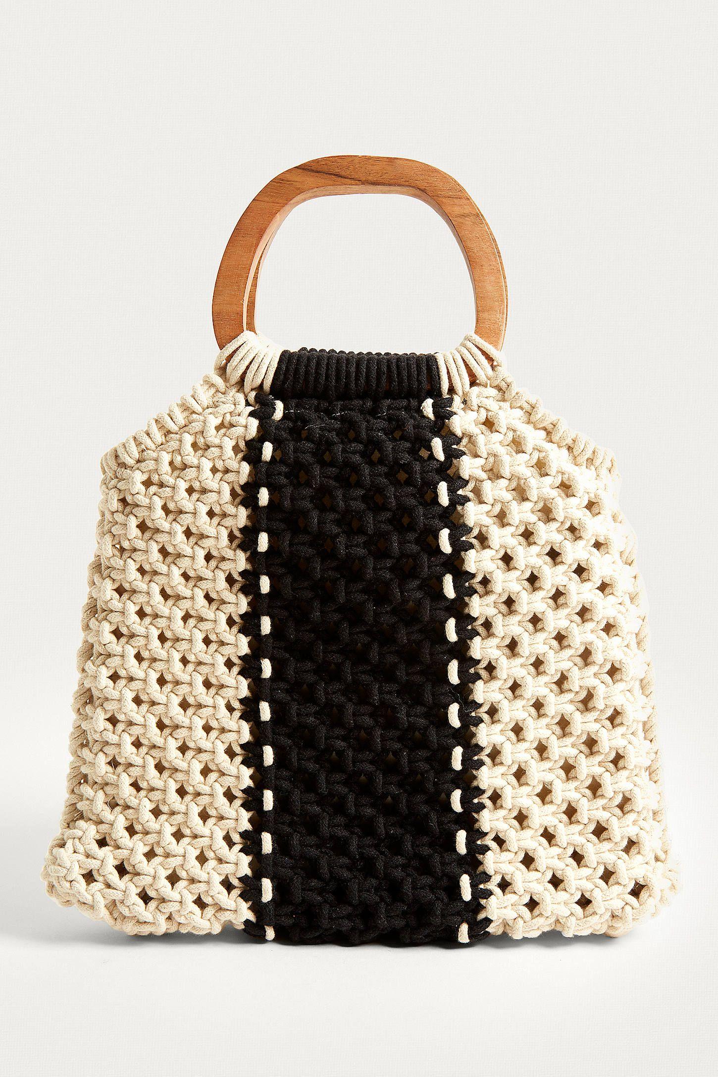 Macrame Wood Handle Bag Macrame Bag Bags Crochet Bags Purses