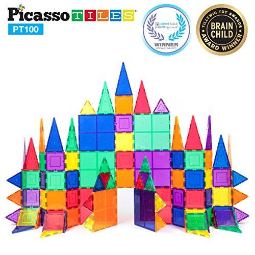 Picassotiles 100 Piece Set 100pcs Magnet Building Tiles Clear Magnetic 3d Building Blocks Con Magnetic Building Blocks Magnetic Building Tiles Stem Toys
