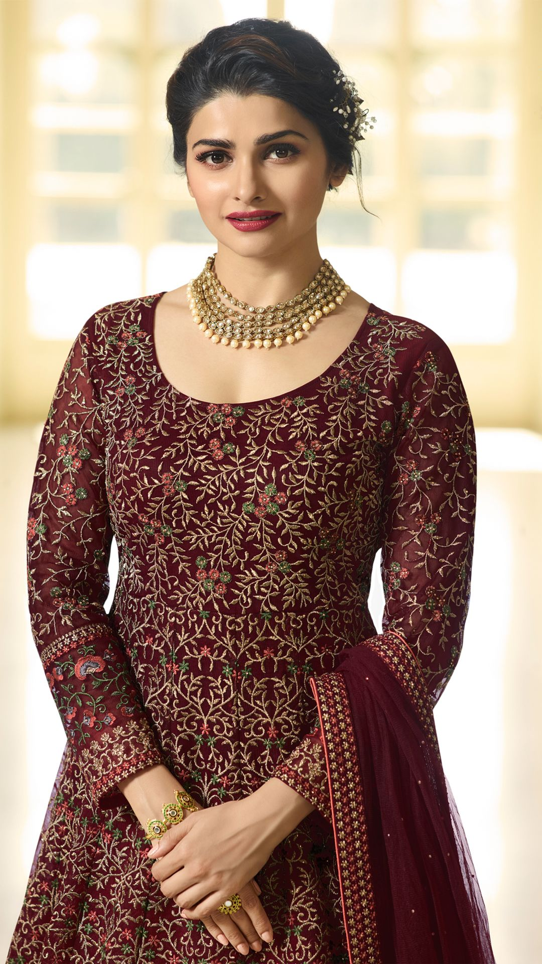 5a4130d24ff Prachi Desai Wine Color Net Designer Anarkali Suit Make an adorable  statement in this Prachi Desai wine color net floor length anarkali suit.