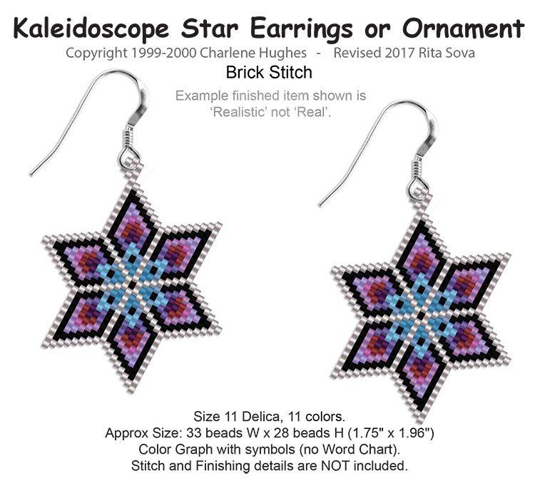 Kaleidoscope Star Earrings Bead Patterns Com Brick Stitch