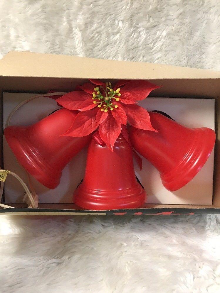 Vintage Red Hard Plastic 3 Bell Cluster Lighted Red Christmas Bells - Vintage Red Hard Plastic 3 Bell Cluster Lighted Red Christmas Bells