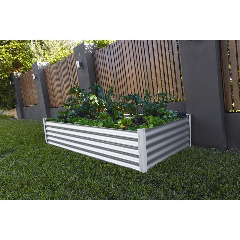 Large Corner L Shaped Wooden Garden Planter Box Trough: Find The Organic Garden Co 200 X 100 X 41cm Zinc Raised