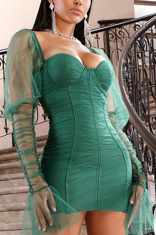 Queen Green Emerald Dress Mini Dress Long Sleeve Bandage Dress Outfits [ 1500 x 1000 Pixel ]