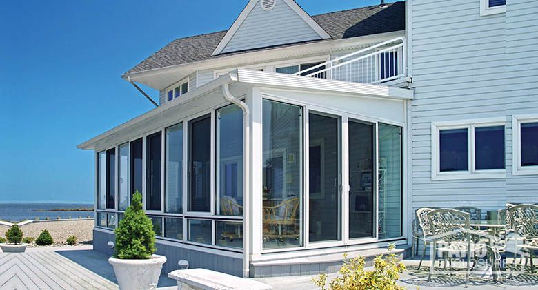 White Vinyl Four Season Room With Single Slope Roof. Sunroom Additions  Photos. Lean More. | Sunroom Exterior Photos | Pinterest | Four Seasons  Room, ...