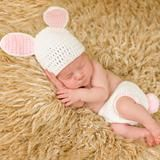 White and Pink Bunny Hat and Diaper Cover Newborn Girl Set
