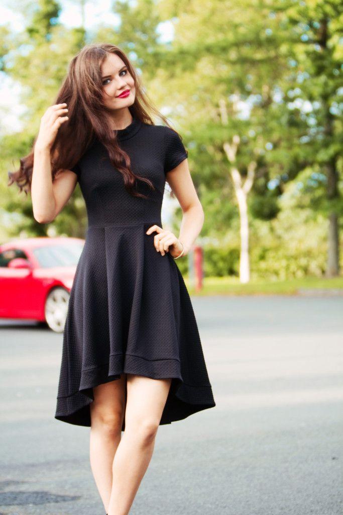 Joli House | Closet London Almari dippy hem black skater dress; long wavy brunette hair