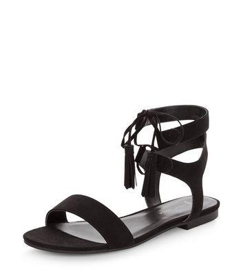fc5771da9323 Wide Fit Black Suedette Lace Up Sandals