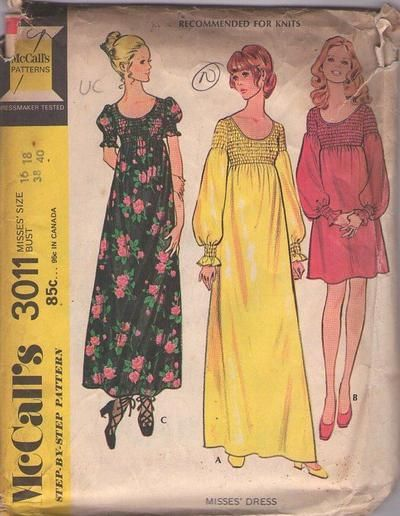 MOMSPatterns Vintage Sewing Patterns - McCall's 3011 Vintage 70's Sewing Pattern GORGEOUS Bohemian Lantern or Puff Sleeve Smocked Look Mini Dress, Maxk Gown Size 16-18
