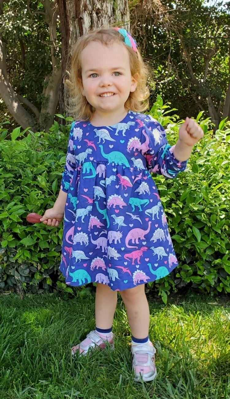 Toddler Dress Dinosaurs Long Sleeves Empire Waist Back Snaps Short Sleeves Sizes 12m 4t Toddler Dress Cotton Toddler Dresses [ 1300 x 750 Pixel ]