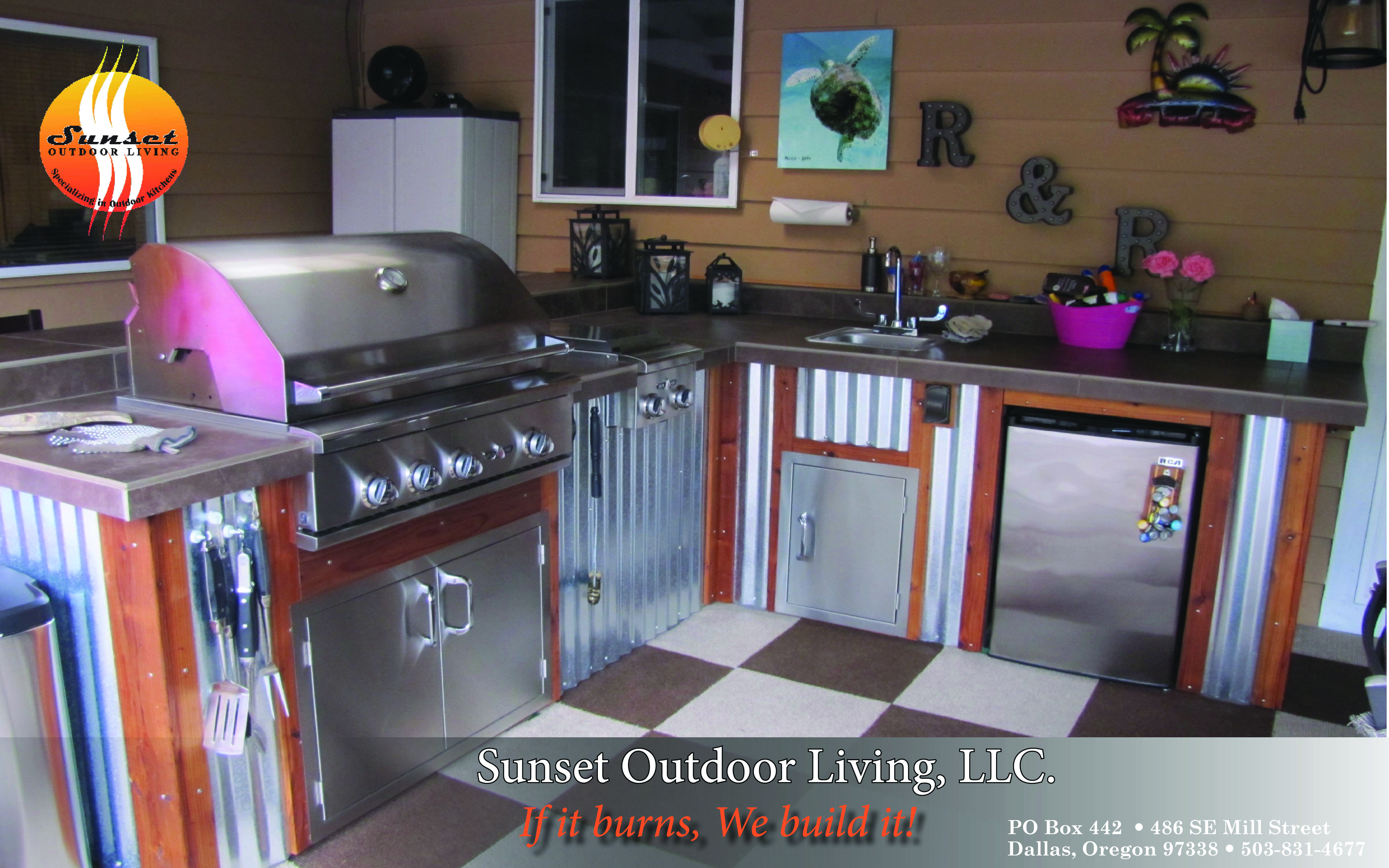 Wood Corrugated Metal Outdoor Kitchen By Sunset Outdoor Living Llc Corrugatedmetal Wood Metal Outdoorkitchen Outdoor Kitchen Metal Grill Grill Table