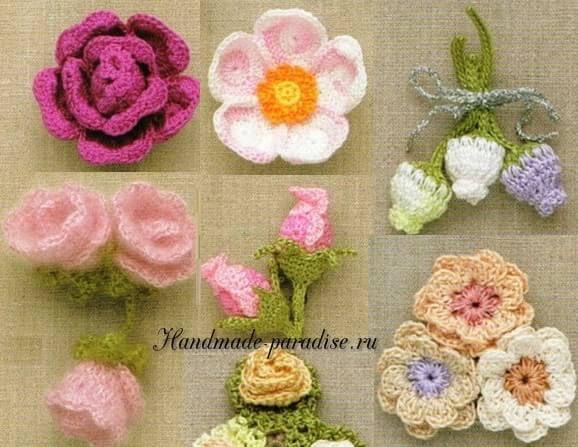 100 цветов крючком схемы вязаные цветы бабочки вязание