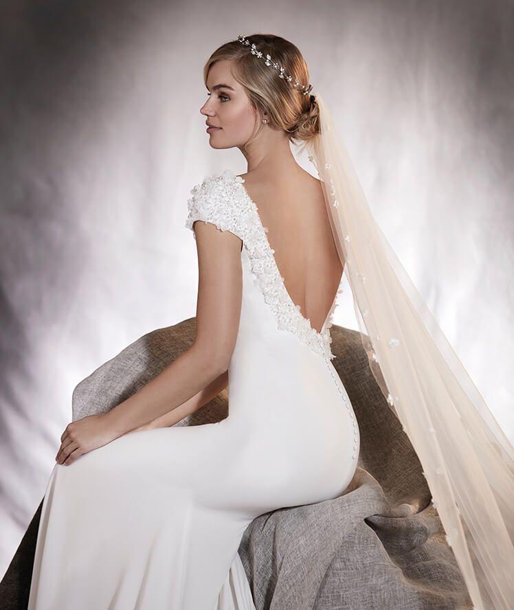 agua - vestido de novia sirena, manga corta, escote en espalda