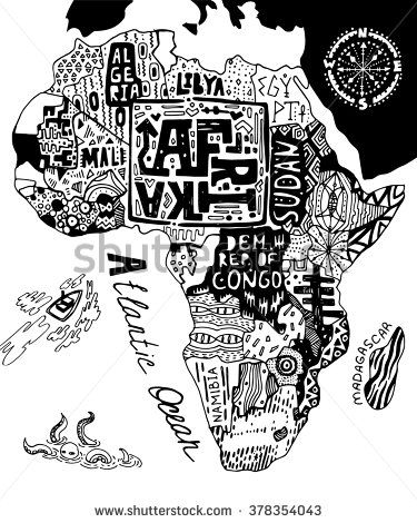 Black and white illustrated map of Africa | Map art in 2019 ... on map of earth illustration, map of egypt illustration, map of japan illustration, map of zambia illustration, map of united states illustration, map of ancient greece illustration, world map illustration, map of italy illustration,