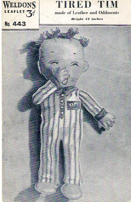 Vintage+Toy+Sewing+Pattern+Tired+TIm++Doll+by+PamoolahVintage,+$3.00 ...