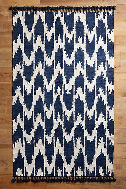 Anthropologie EU Fringed Ikat Rug. Our buyers designed this shibori-inspired ikat rug after poring over traditionally-dyed textiles on their trip to Japan.