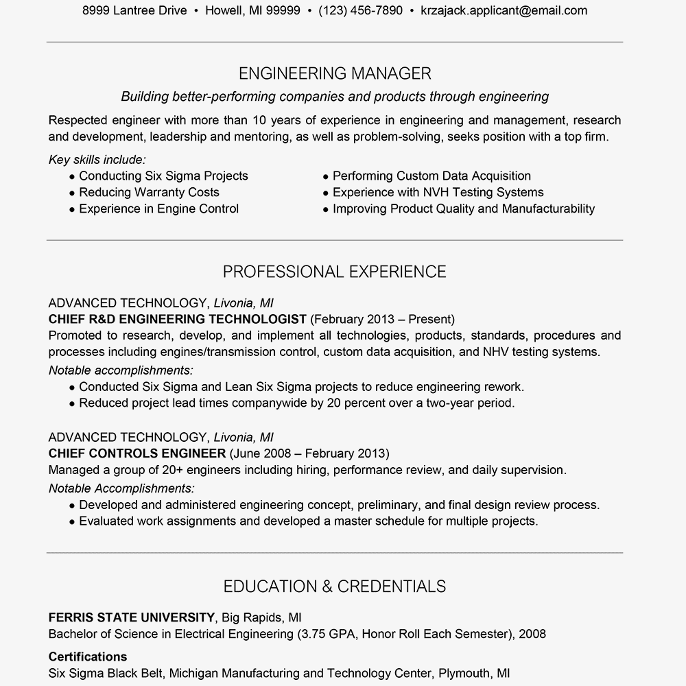 Electrical Engineer Resume Example Awesome Engineer Resume