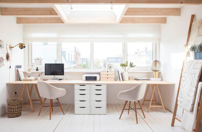 Light attic home office of interior stylist holly marder gravity