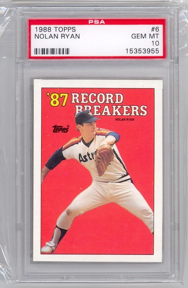 1988 Topps 87 Record Breakers 6 Psa10 Psa Nolan Ryan Cards Baseball Cards For Sale