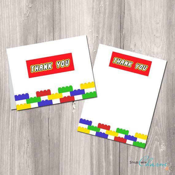 Printable+LEGO+Thank+You+Cards Liam 5th Lego, Lego birthday