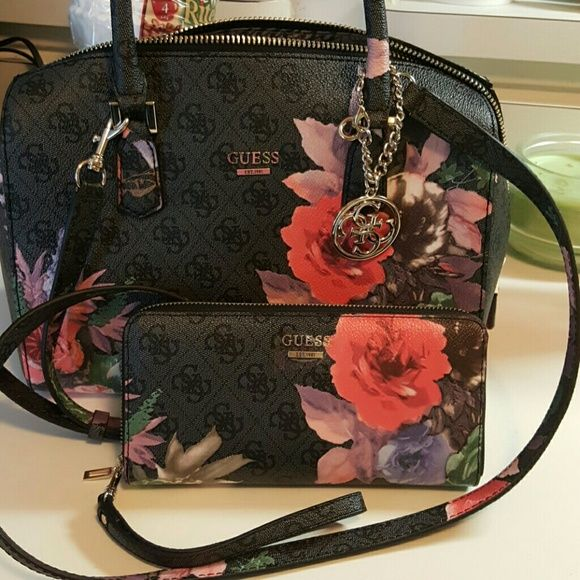 guess matching bag and wallet black with flowers never used brand new. can be carried or crossbody Guess Bags Crossbody Bags