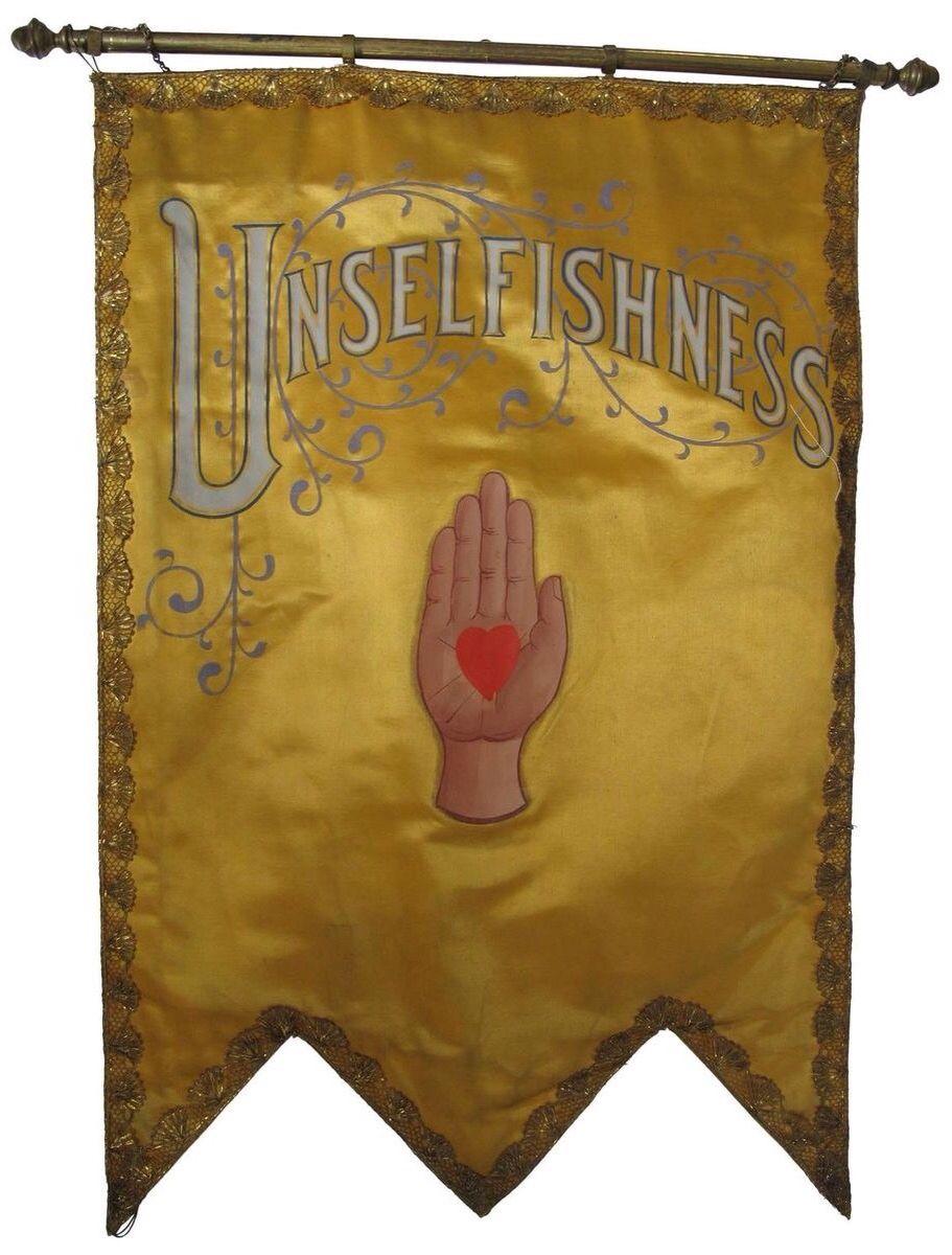 Odd Fellows Lodge Unselfishness Banner 1900 Odd Fellows