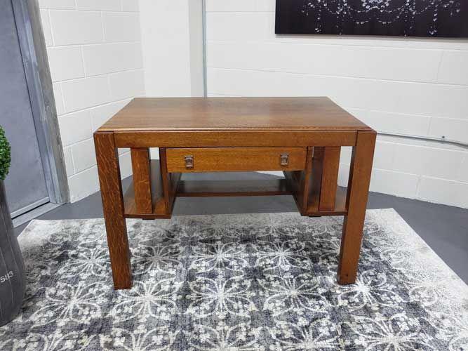 Antiques By Design - Bookcase End Mission Oak Library Table / Desk