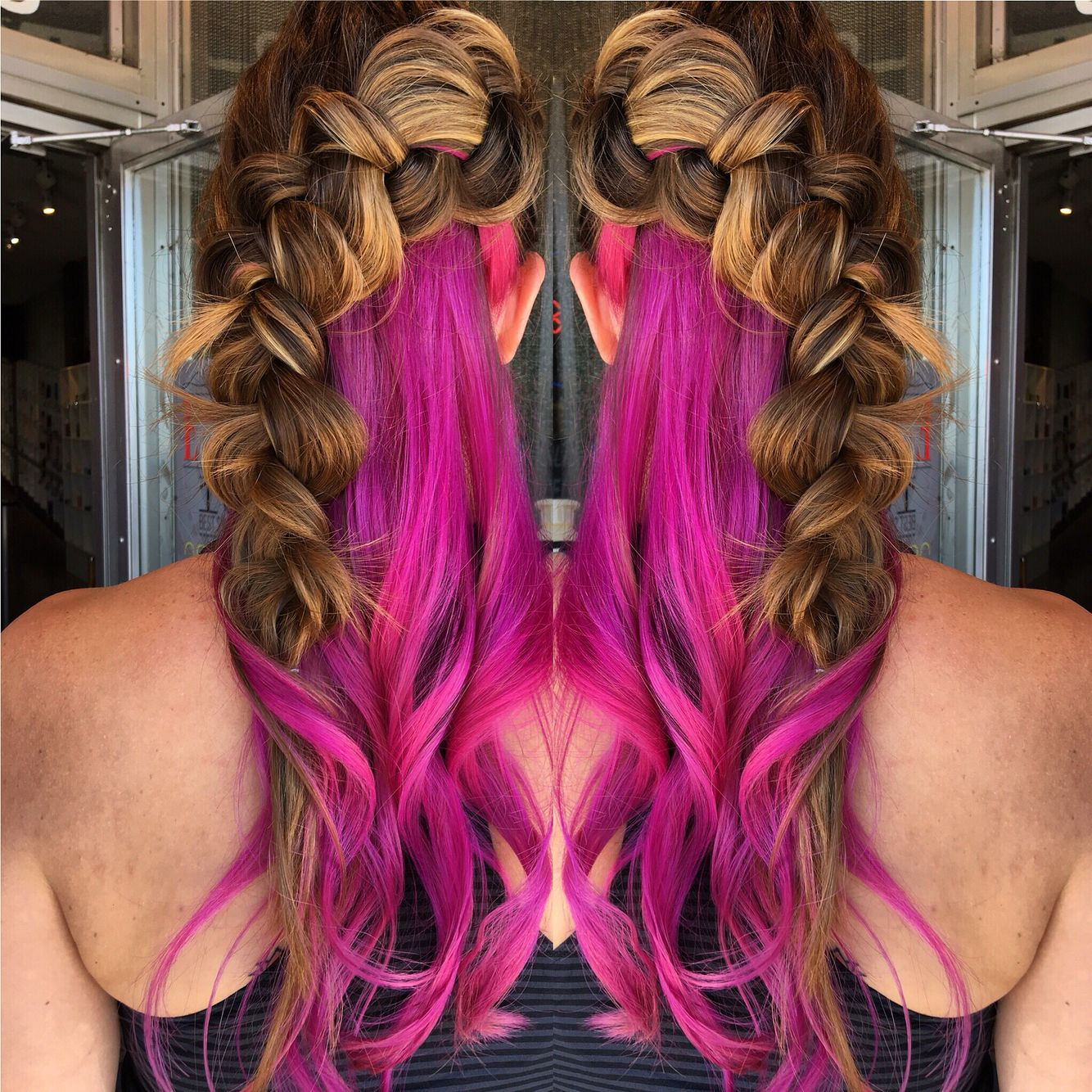 Pink Hair Amp Big Braid With Images Hair Painting Pink
