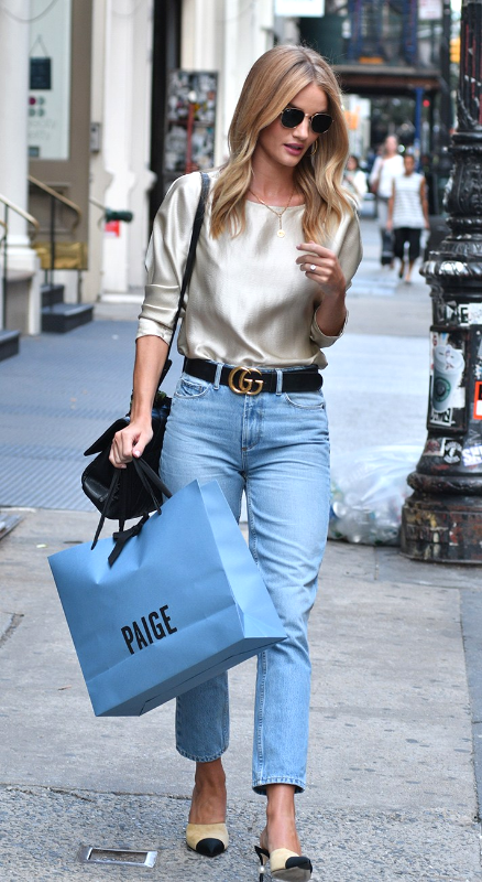 0339d8a2d671 Rosie Huntington-Whiteley Style | 17 Celebrities with Killer Street Style |  Fall outfit idea | Silky top, mom jeans, and Chanel flats