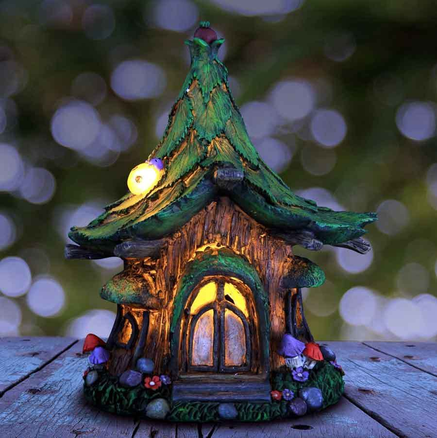 Solar fairy house with lightup ladybug solar fairy houses