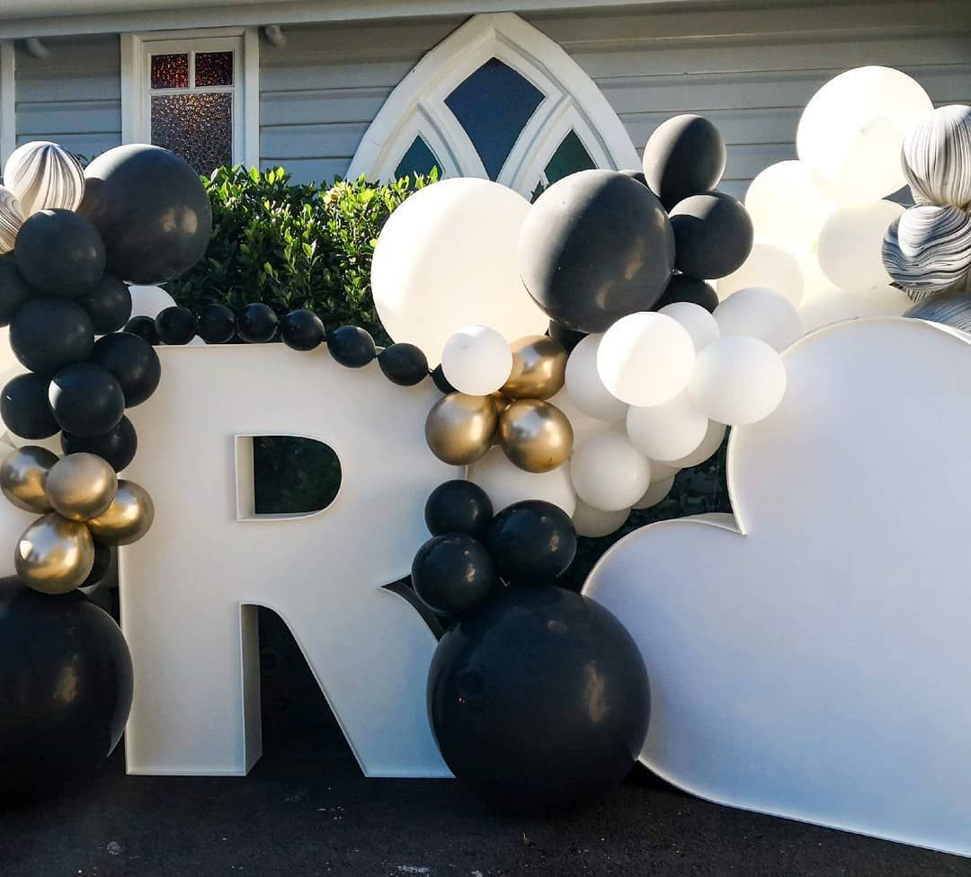 Monochrome Wedding Balloons With Pops Of Gold