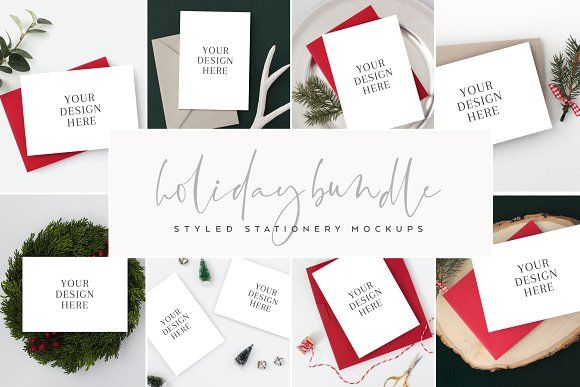 8d34019f2 Modern Holiday Card Mock Up Bundle by The Stationery Stock Shop on   creativemarket