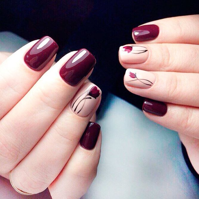 Best Burgundy Floral Nail Art Ideas picture 1 - Mouth-Watering Shades Of Burgundy Nail Polish Nail Design