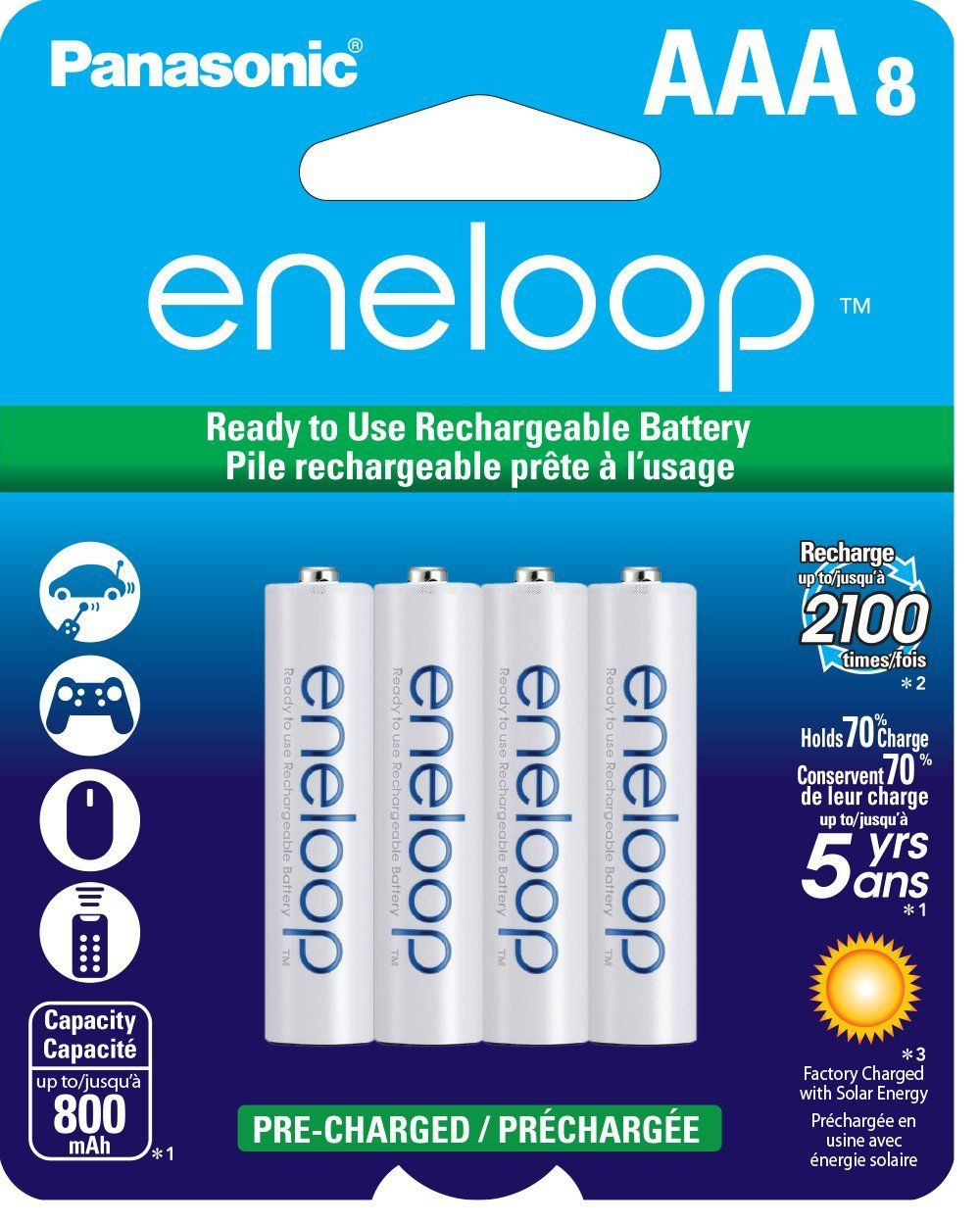 8 Pack Panasonic Eneloop Aaa Ni Mh Pre Charged Rechargeable Batteries 15 50 Free Shipping Rechargeable Batteries Panasonic Nimh Battery