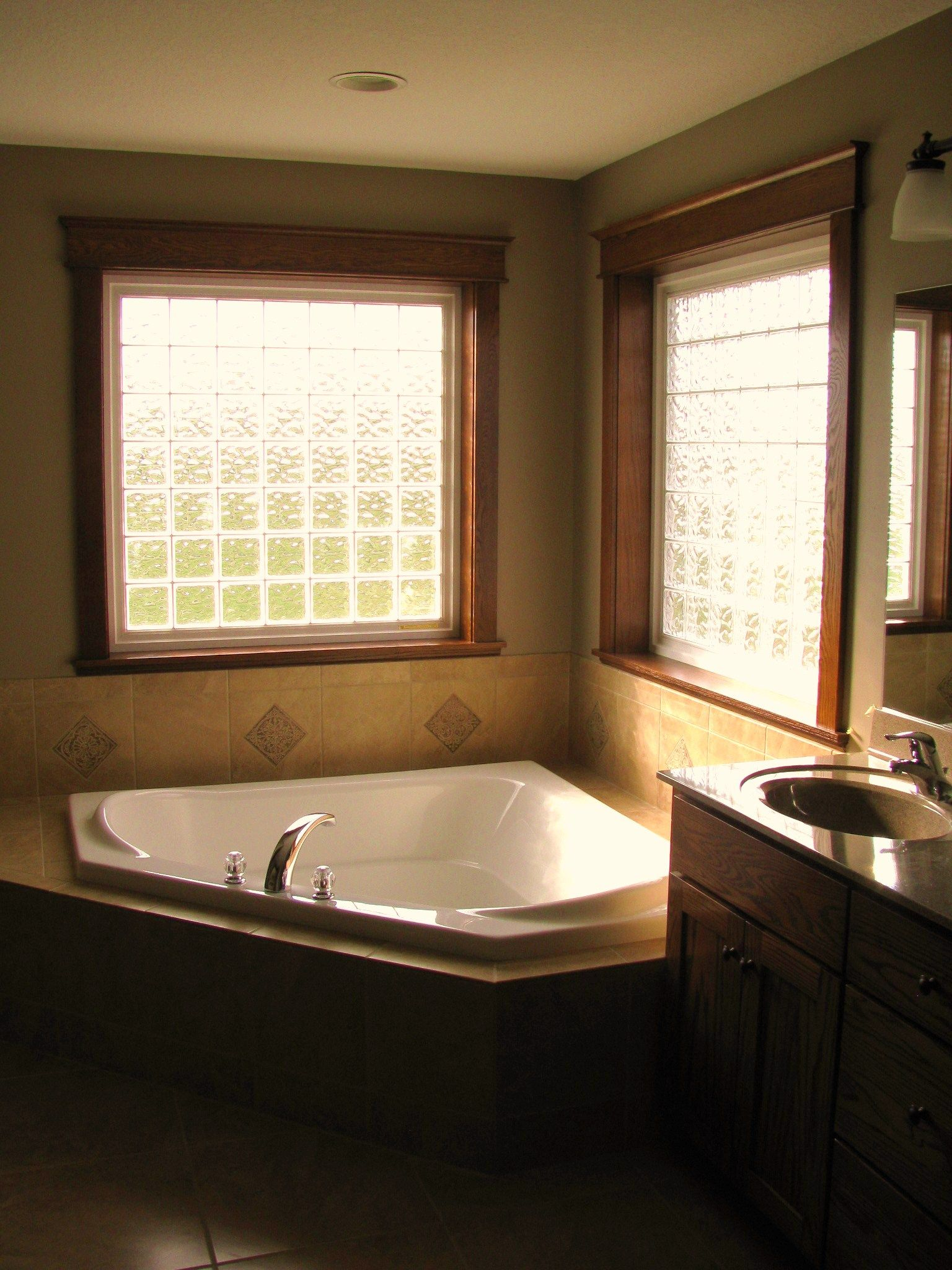 Corner Air Jetted Tub Glass Block Windows Bathrooms In
