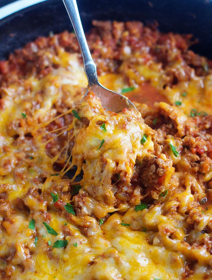 Taco Cauliflower Rice Skillet Dinner Low Carb 5 Boys Baker Recipe Recipes Beef Recipes Healthy Recipes