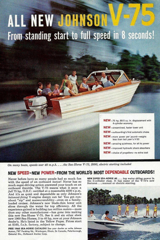 Vintage Boat Ad - Johnson Outboard Motors - 1960's Boating Fishing Cruising  Outdoor Wall Decor Illustration