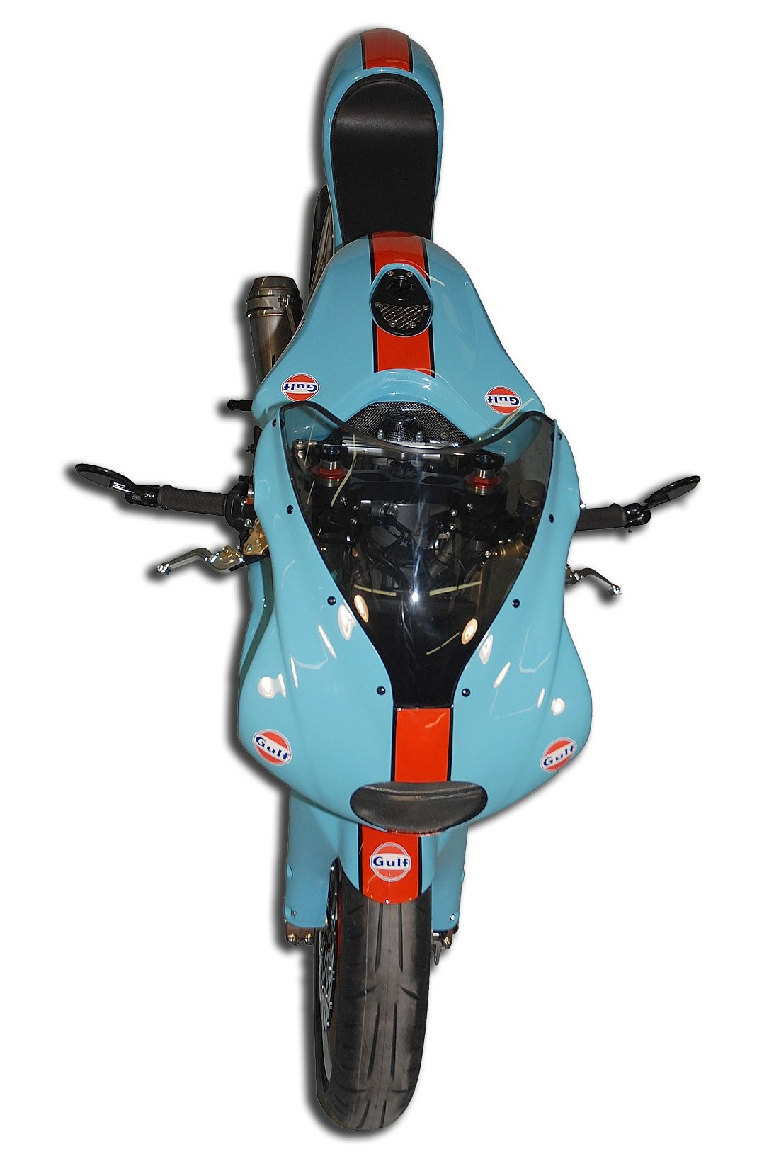 Custom Gulf Theme Ducati built by Moto Movito in Raleigh, NC