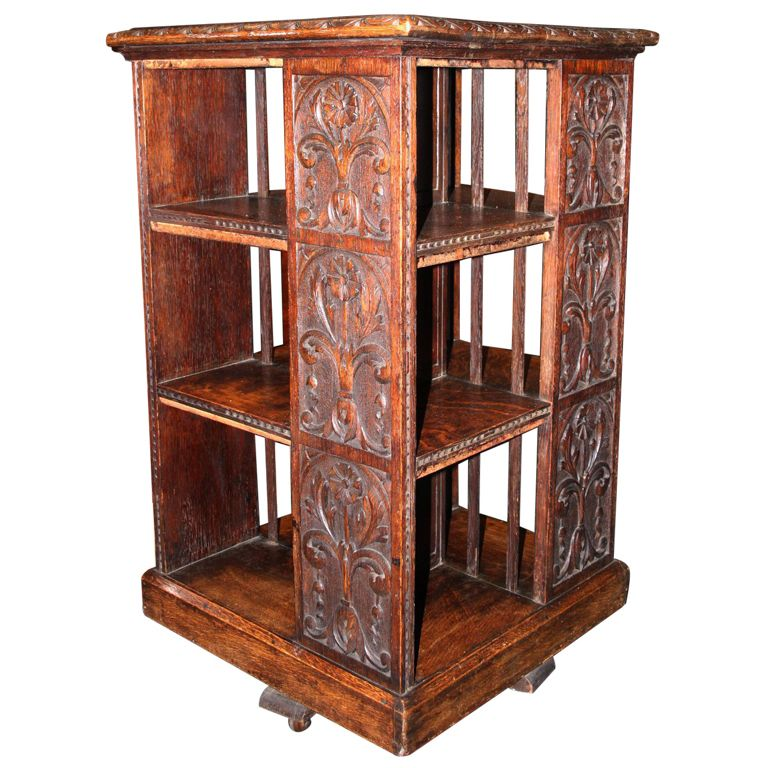 Carved Oak Revolving Book Stand Vintage Bookcase Blue Chairs