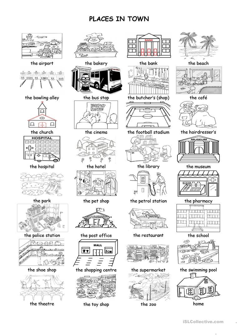 Places In Town French Worksheets French Vocabulary French Education