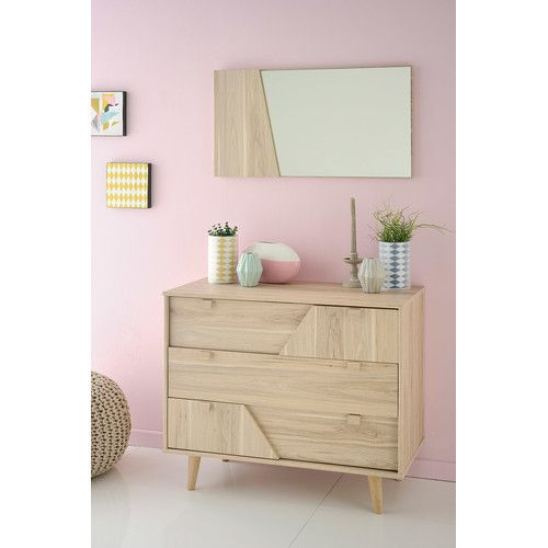 Found It At Allmodern Swen 3 Drawer Chest With Mirror Scandinavian Bedroom Dark Living Rooms Small Home Offices